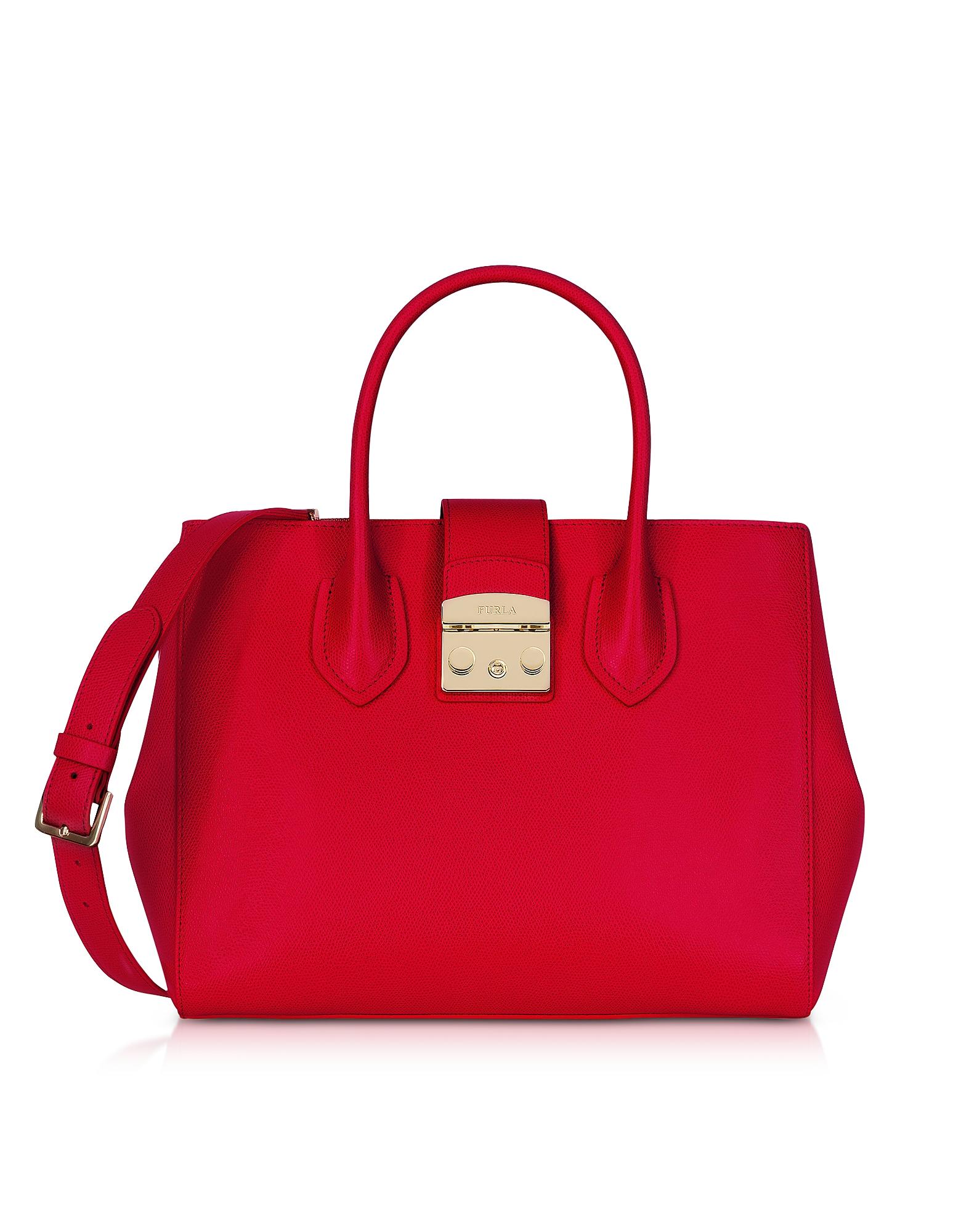 Furla Handbags, Ruby Leather Metropolis Medium Tote Bag