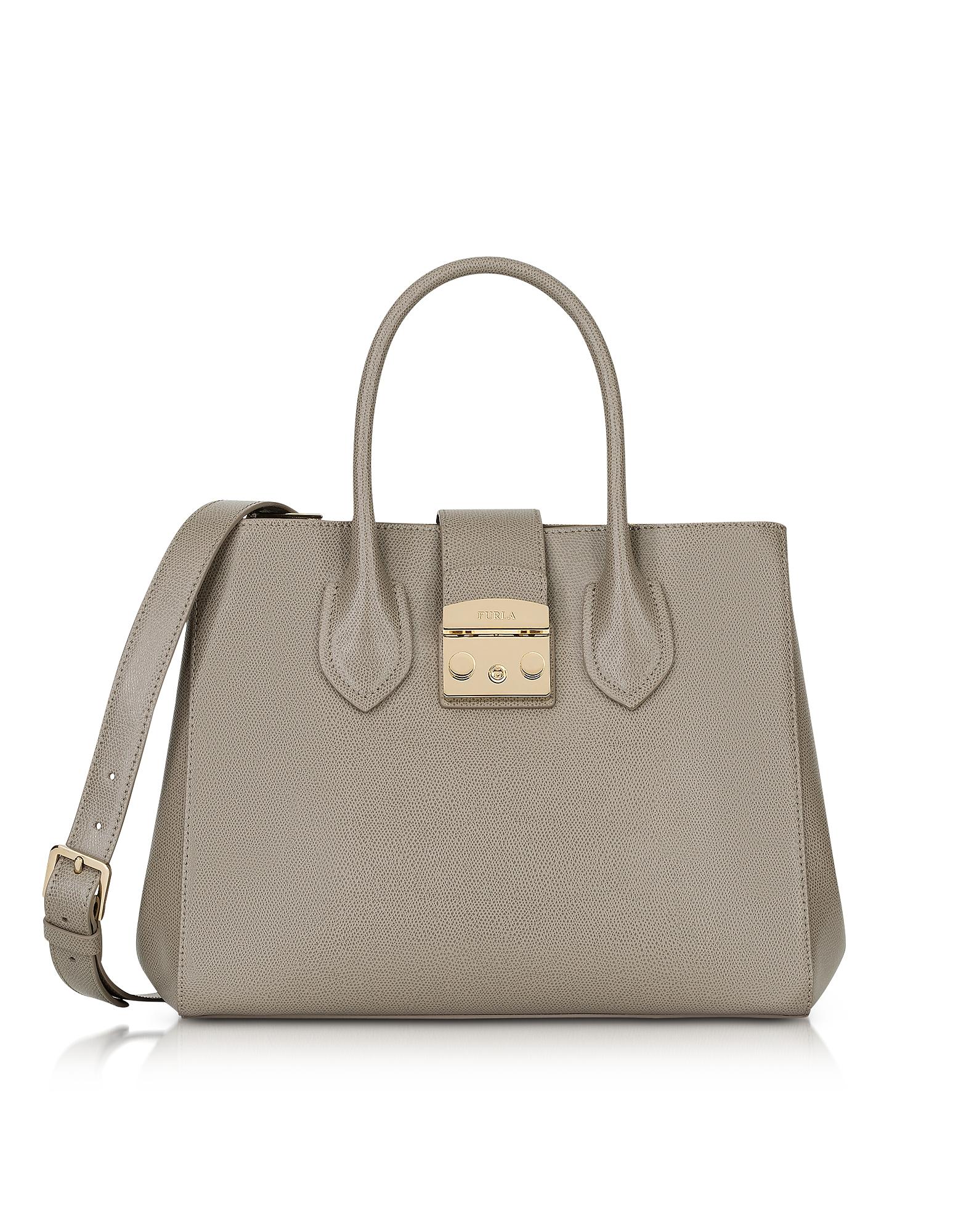Furla Handbags, Sand Leather Metropolis Medium Tote Bag
