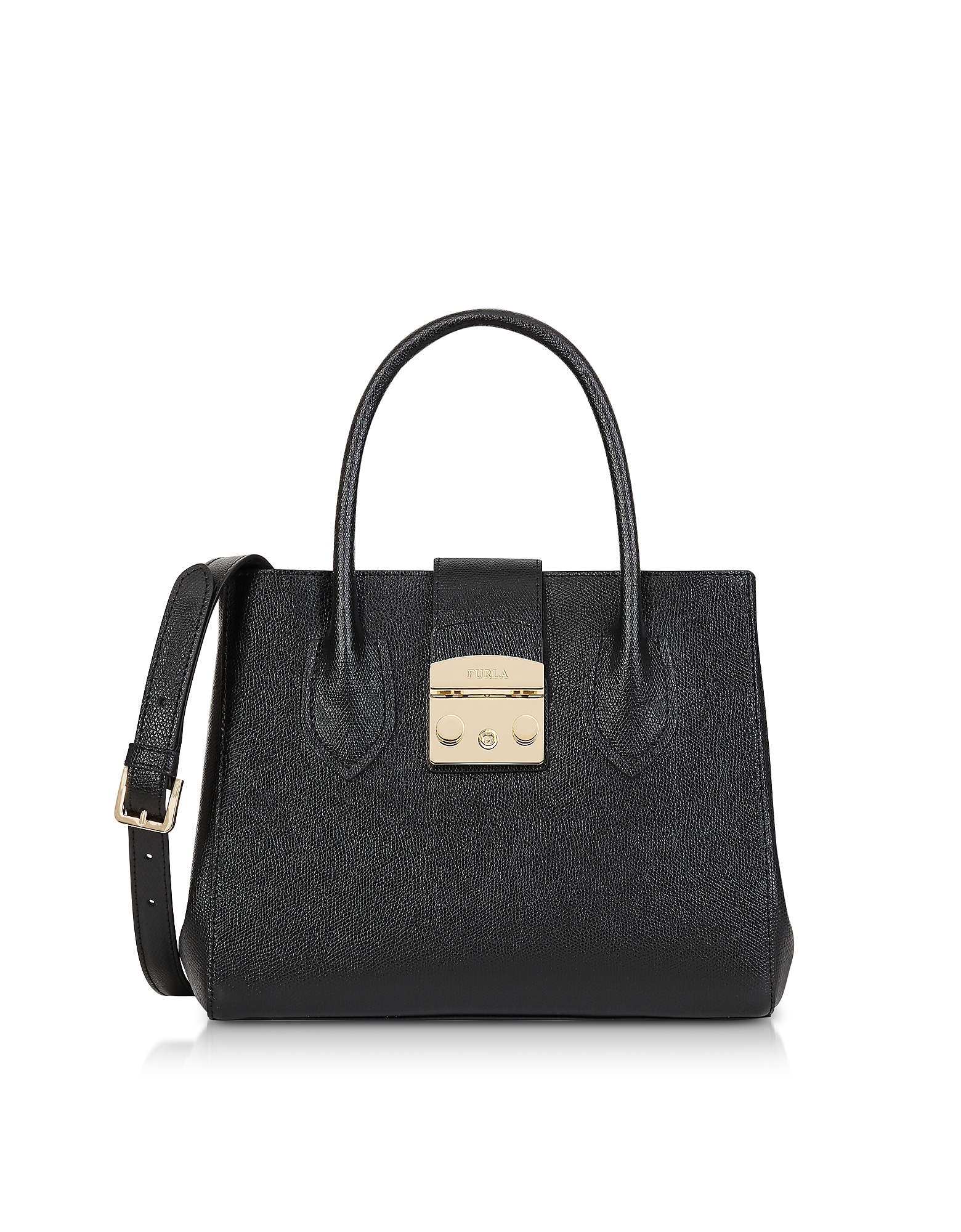Furla Handbags, Onyx Leather Metropolis Small Tote Bag