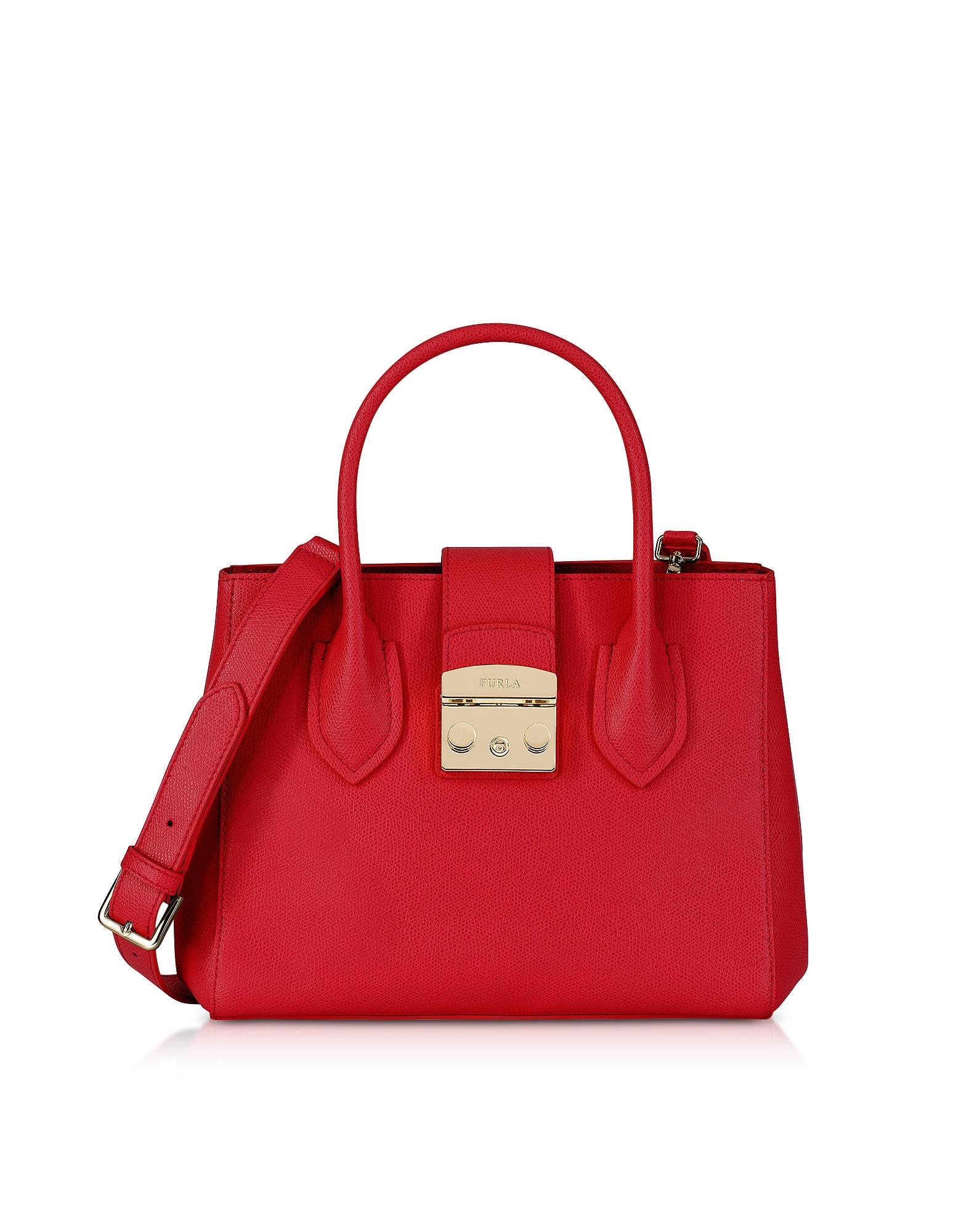 Furla Handbags, Ruby Leather Metropolis Small Tote Bag