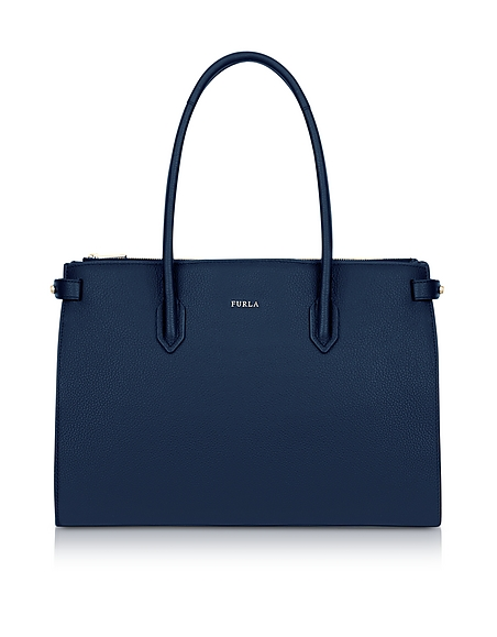 Furla Blue Leather Pin Medium E W Tote Bag