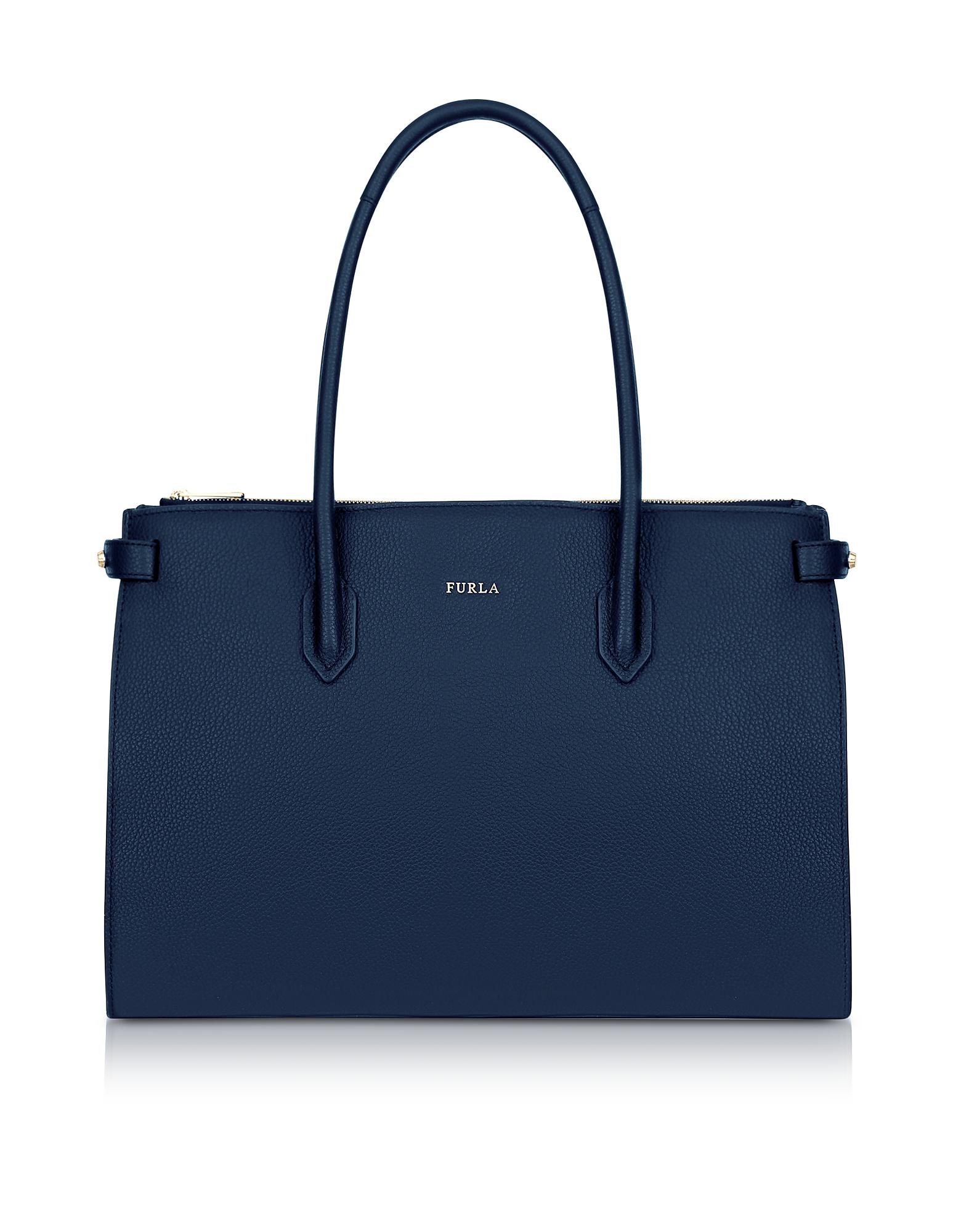 Furla Handbags, Blue Leather Pin Medium E/W Tote Bag