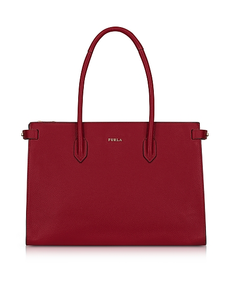 Furla Cherry Leather Pin Medium E W Tote Bag