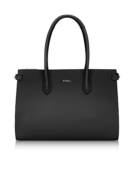 Furla Onyx Leather Pin Medium E W Tote Bag