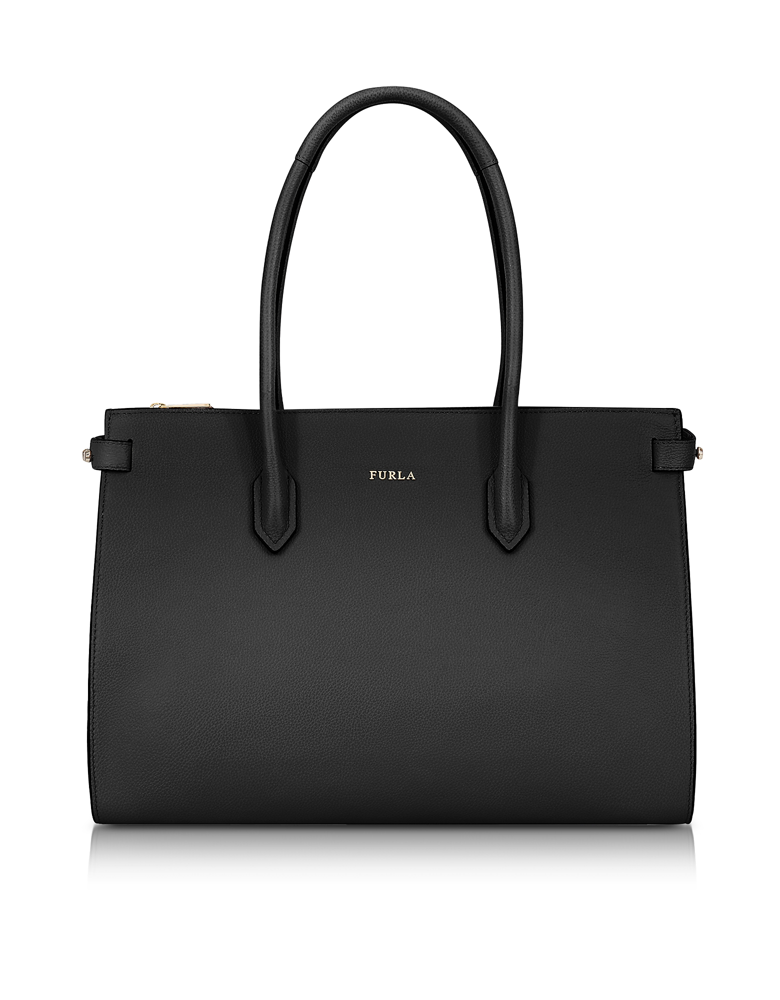 Furla Handbags, Onyx Leather Pin Medium E/W Tote Bag