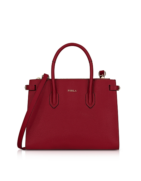 Furla Cherry Leather Pin Small E W Tote Bag