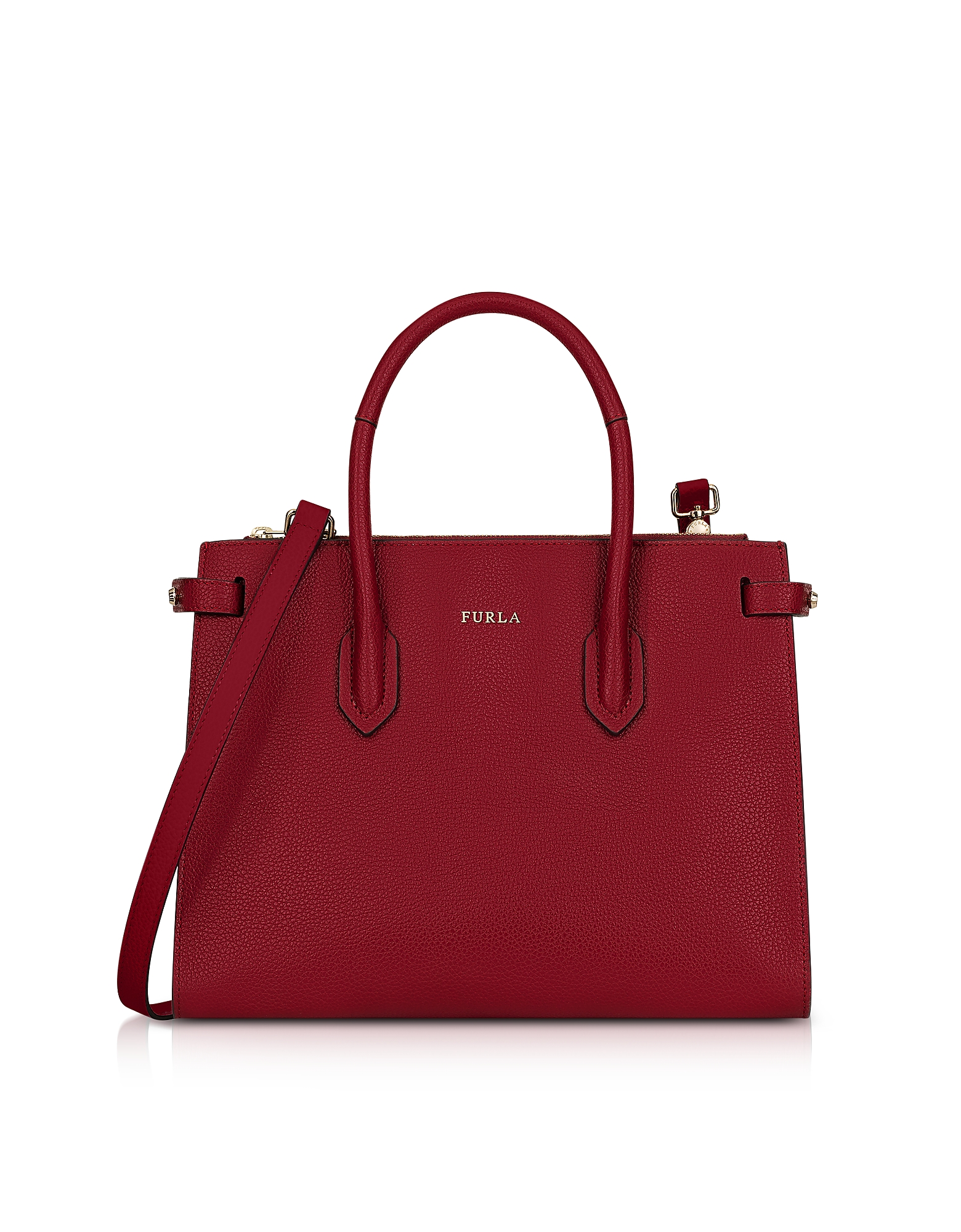 Furla Handbags, Cherry Leather Pin Small E/W Tote Bag