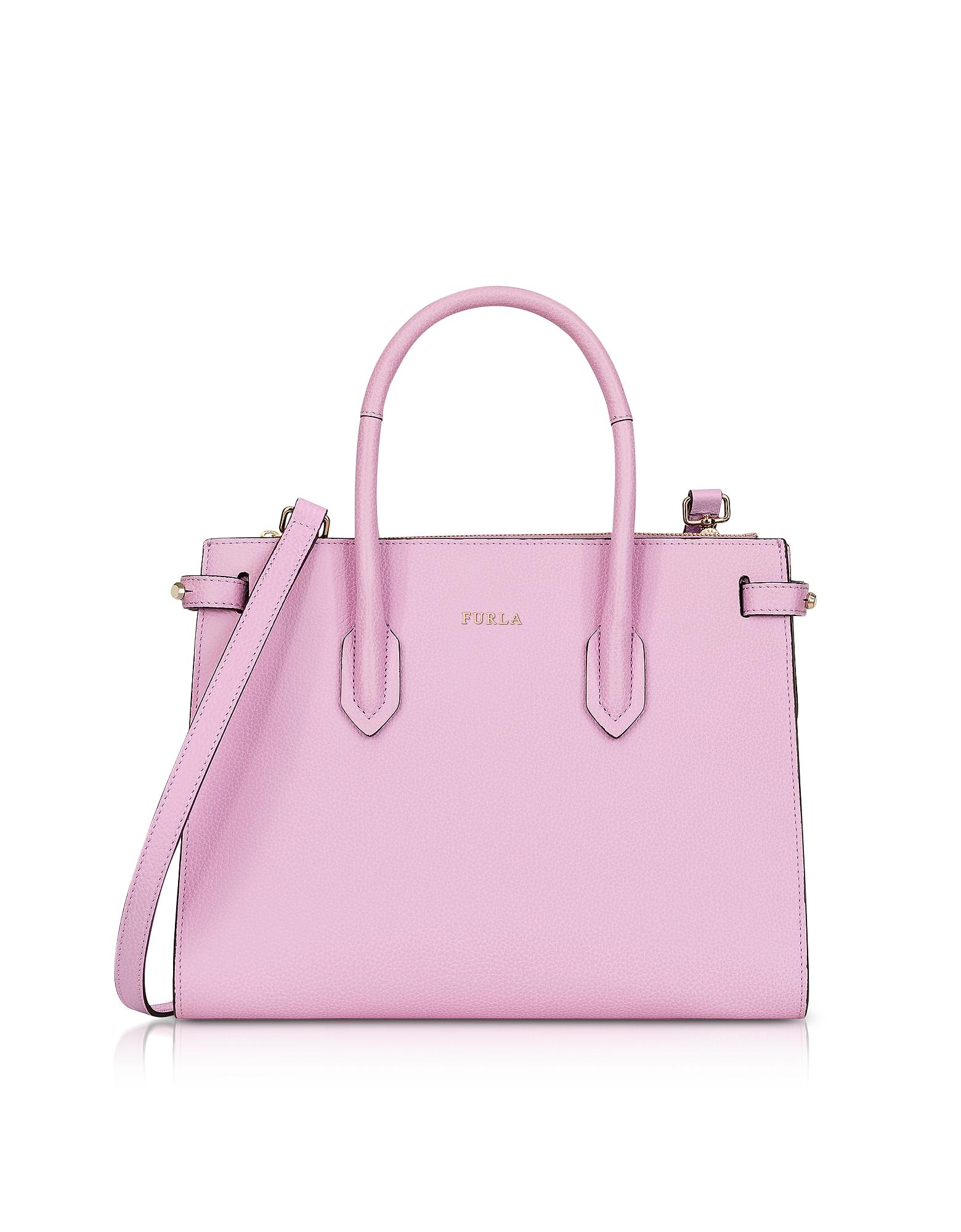 Furla Handbags, Glicine Leather Pin Small E/W Tote Bag