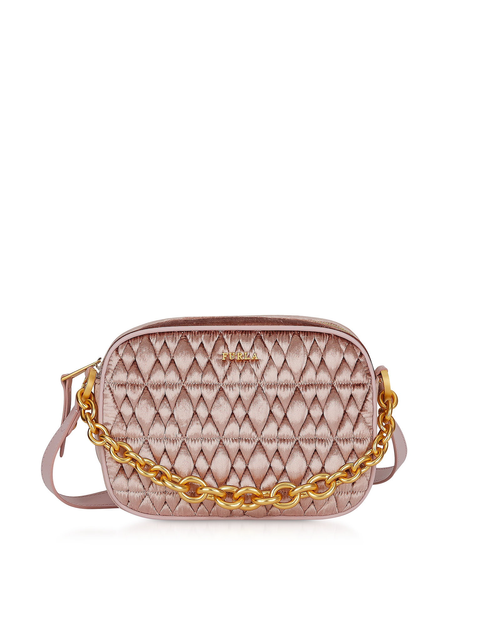 Quilted Velvet Cometa Mini Crossbody Bag, Pink