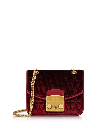 Quilted Velvet Metropolis Cometa Mini Crossbody Bag