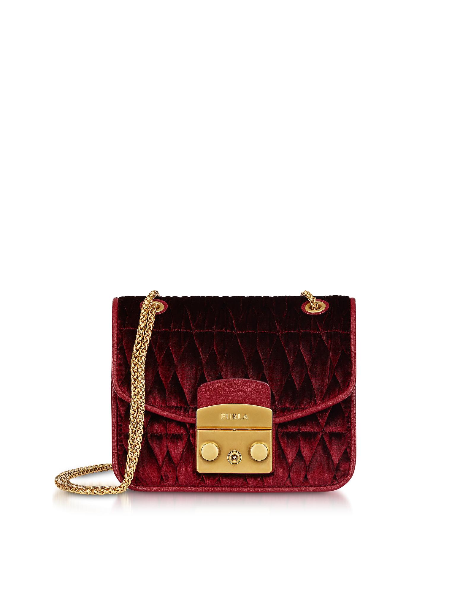 Quilted Velvet Metropolis Cometa Mini Crossbody Bag in Rosso Red/Gold