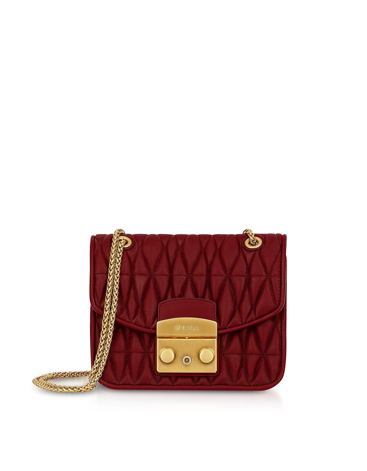 Furla Handbags, Quilted Nappa Metropolis Cometa Mini Crossbody Bag w/Chain Strap