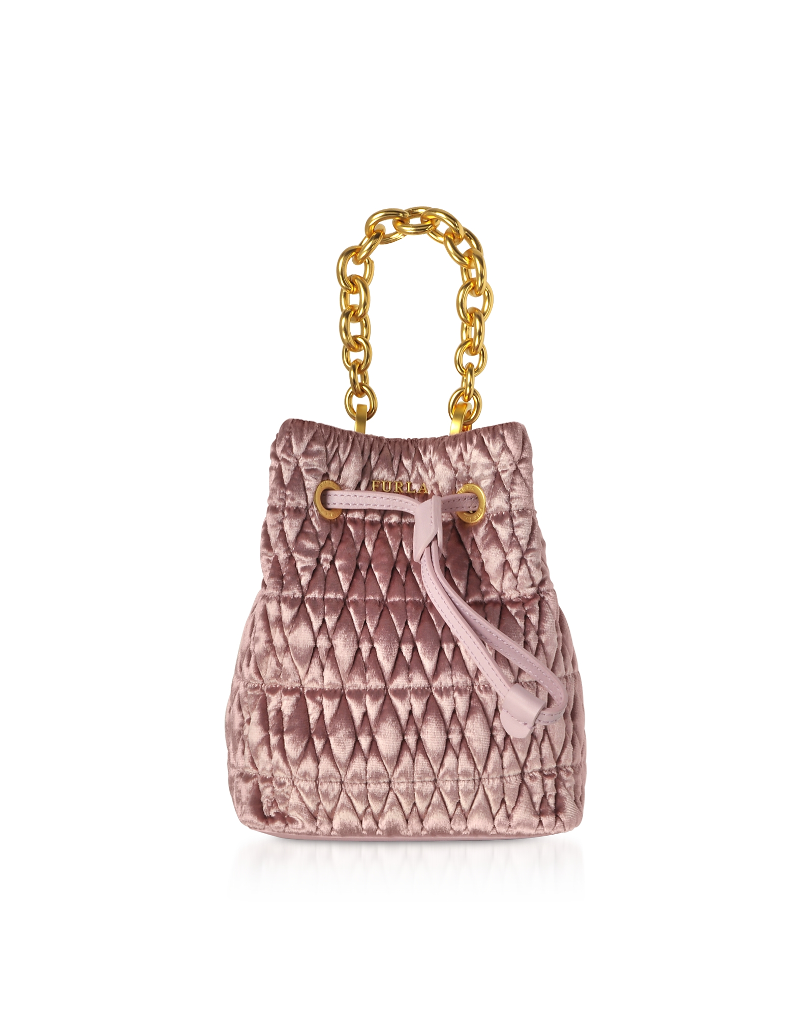 Quilted Velvet Stacy Cometa Mini Drawstring Bucket Bag in Pink