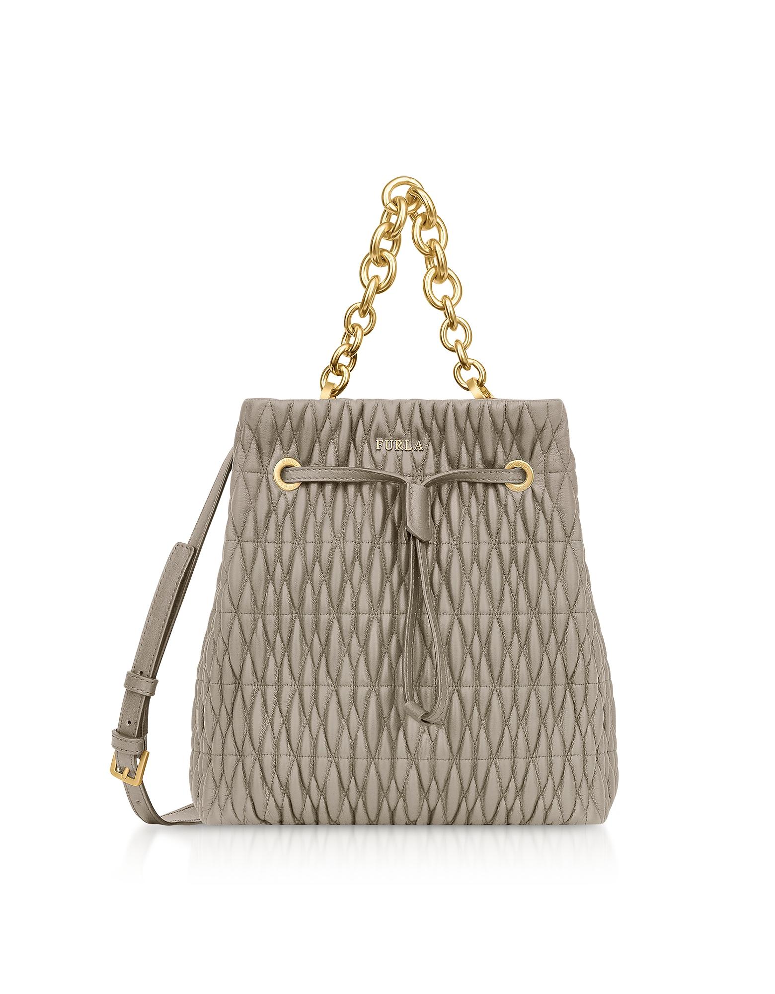 Furla Handbags, Quilted Nappa Stacy Cometa S Drawstring Bucket Bag