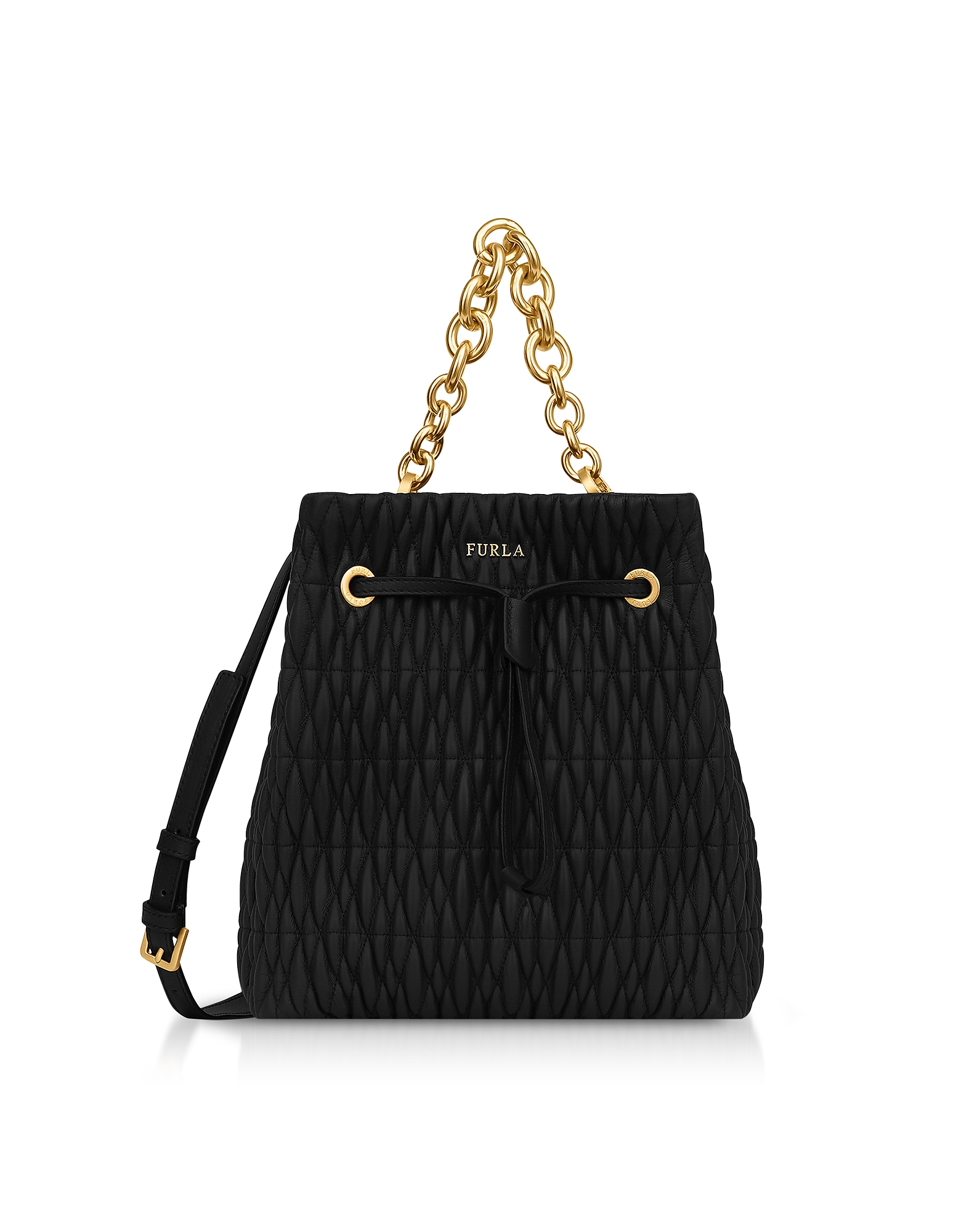 Quilted Nappa Stacy Cometa S Drawstring Bucket Bag in Black Onyx