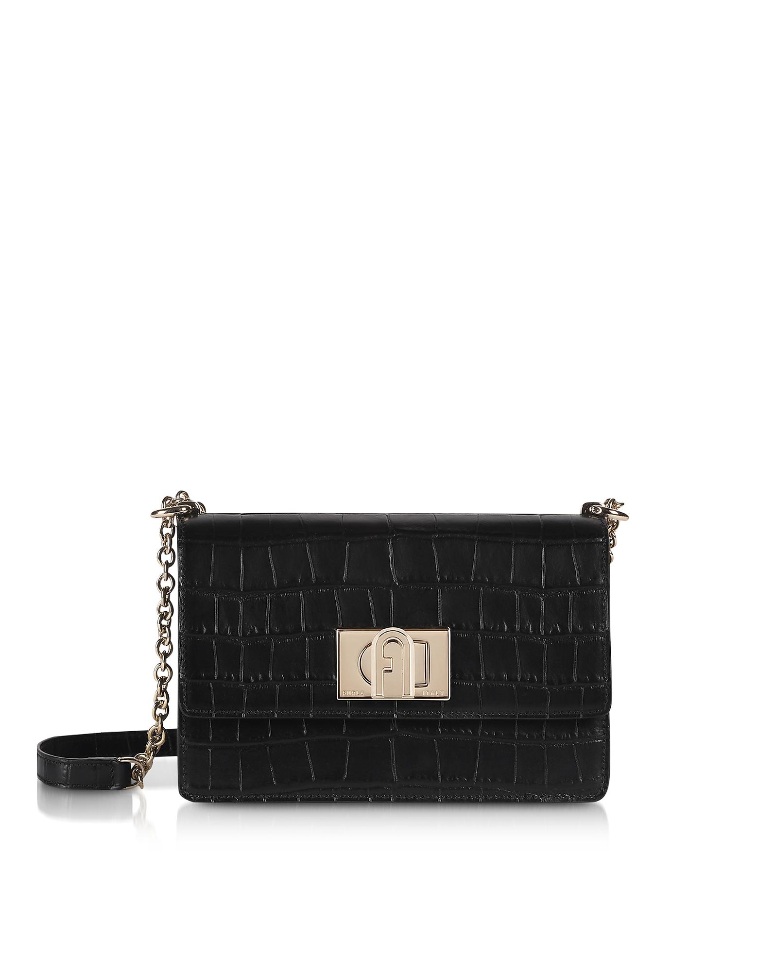 Furla Designer Handbags, Black Croco Embossed Leather 1927 Mini Crossbody Bag 20