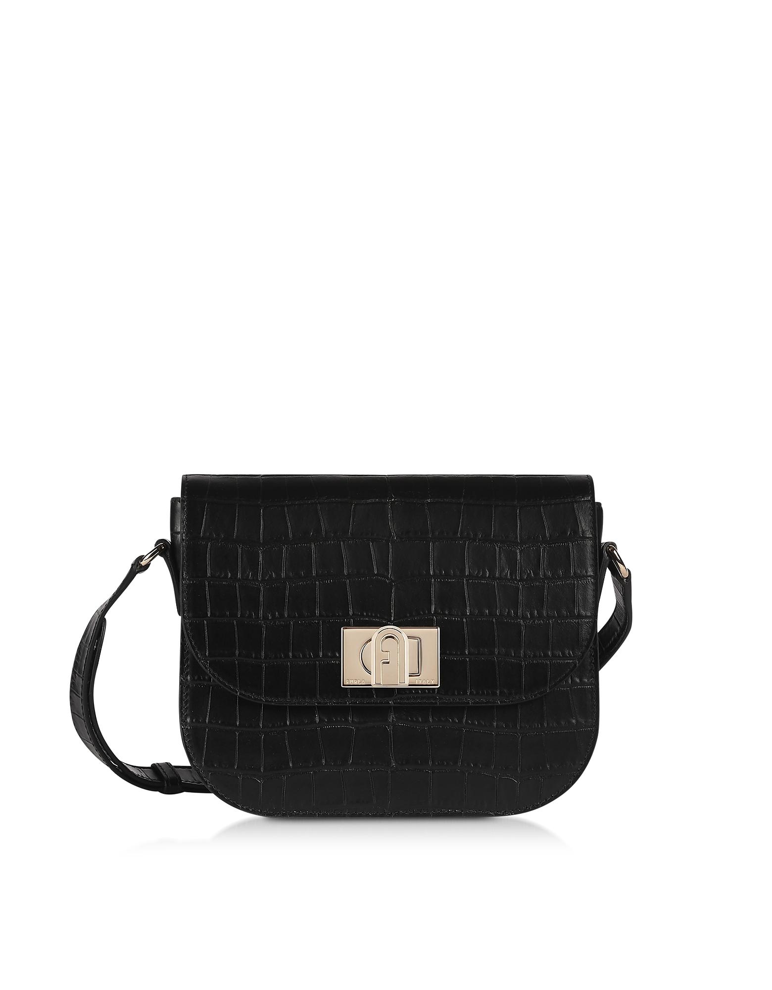 Furla Designer Handbags, Black Croco Embossed Leather 1927 S Crossbody Bag 23