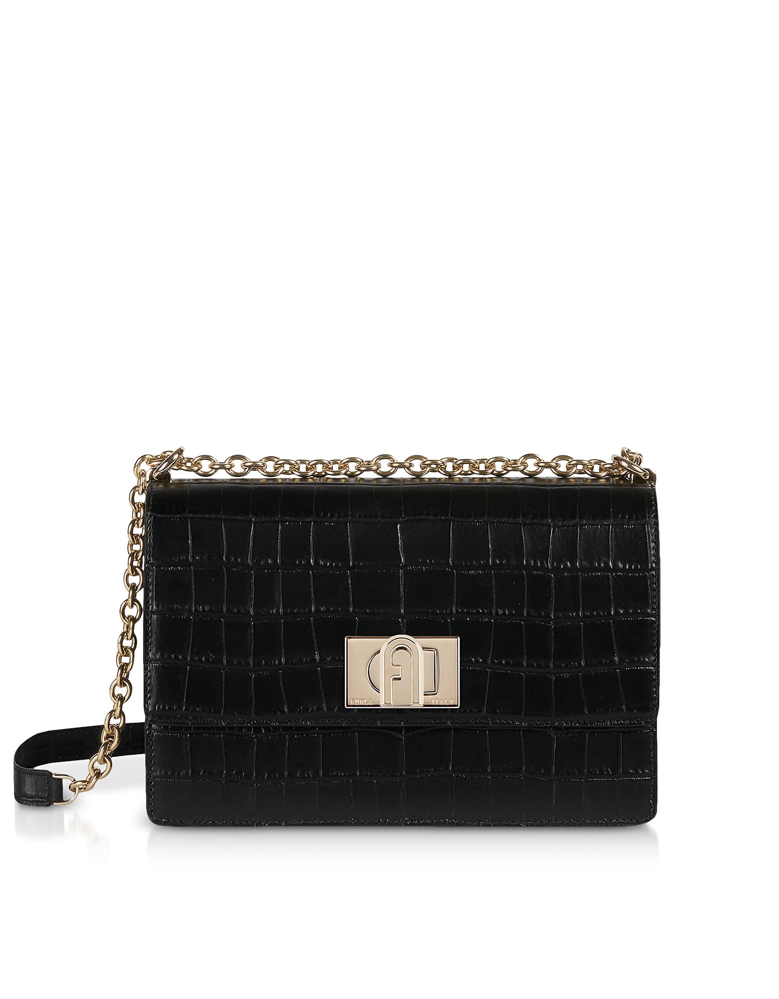 Furla Designer Handbags, Croco Embossed Leather 1927 S Crossbody Bag 24