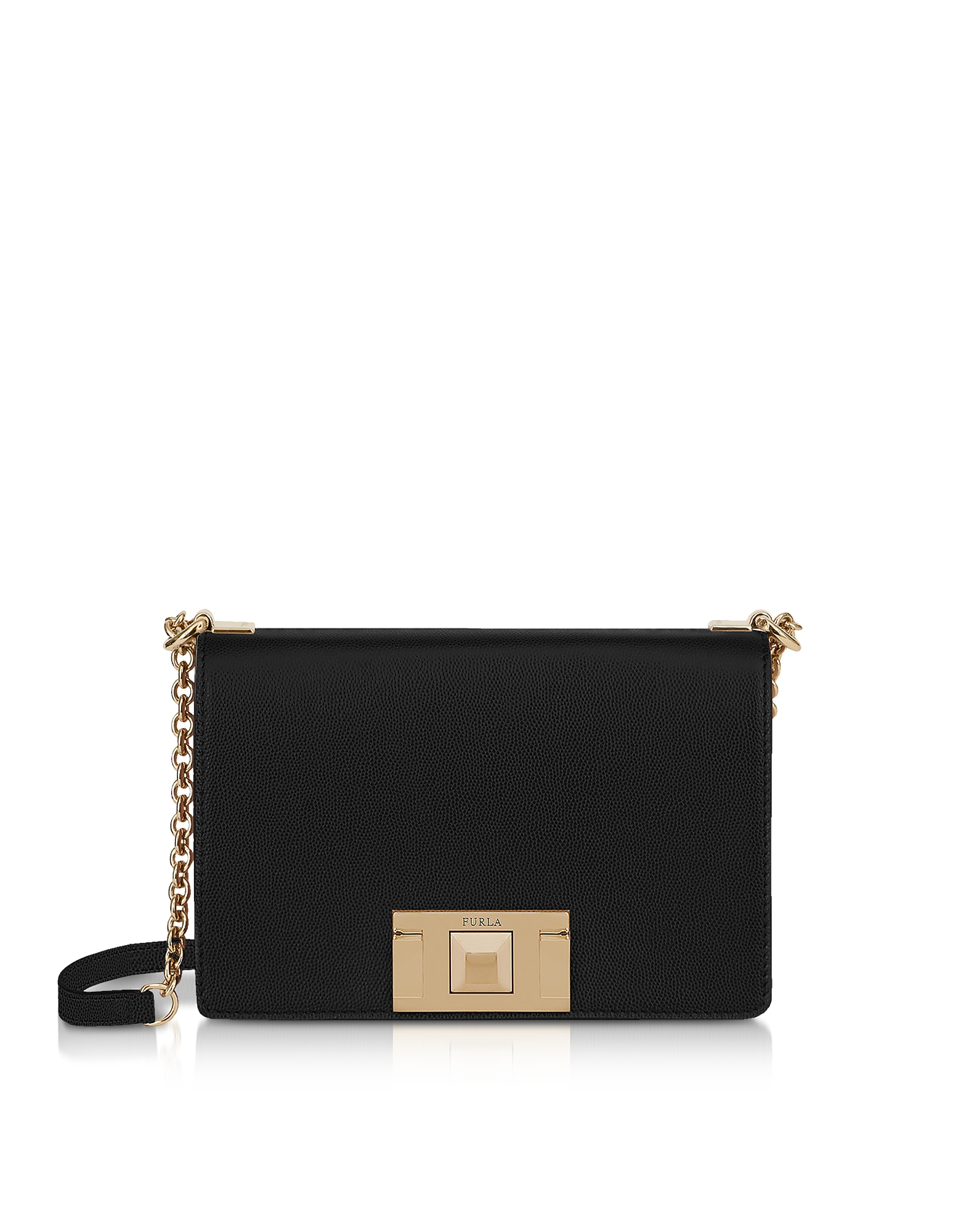 Furla Designer Handbags, Black Leather Mimì Mini Crossbody Bag