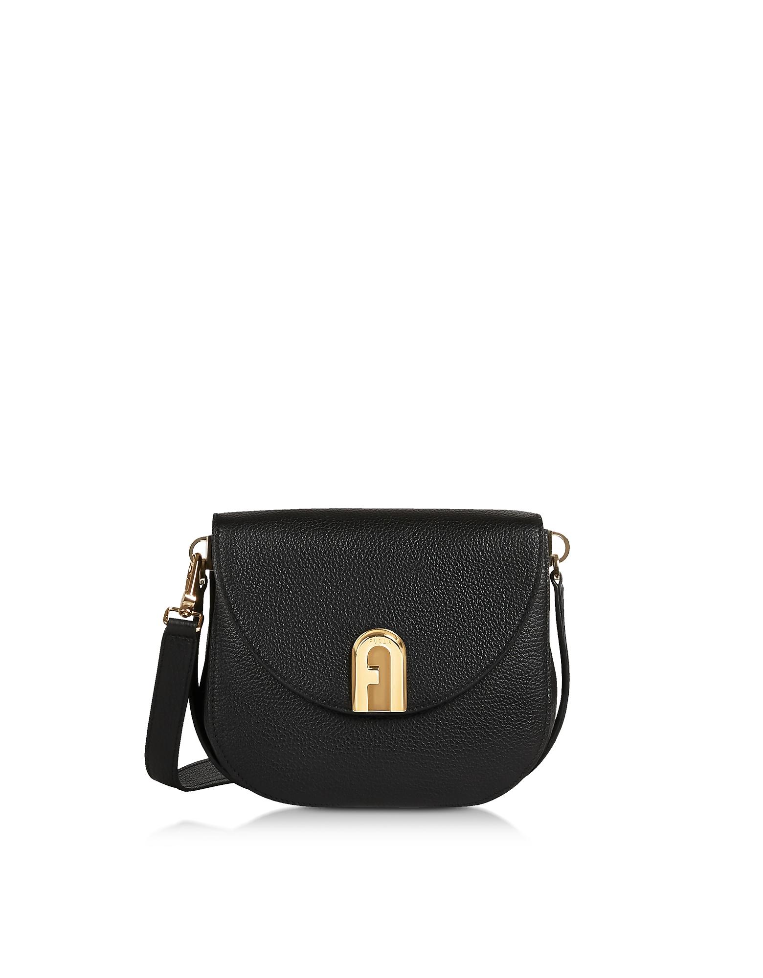 Genuine Leather Sleek Mini Crossbody Bag, Black