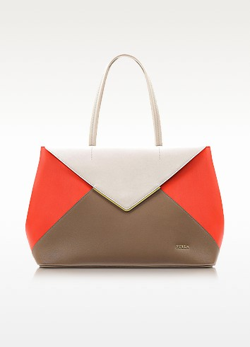 Kelis Color Block Leather Tote Bag - Furla