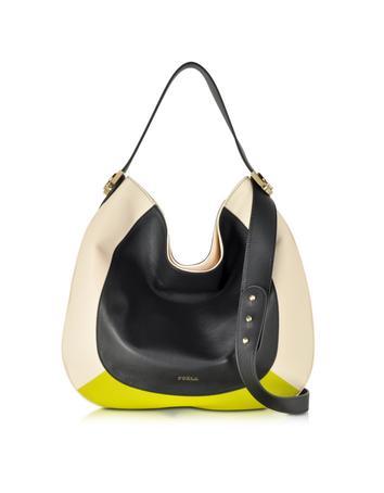 Large Luna Colorblock Leather Hobo Bag