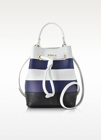Stacy Chalk & Navy Blue Striped Leather Bucket Bag - Furla