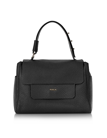 Furla - Onyx Black Leather Capriccio Medium Top Handle Bag