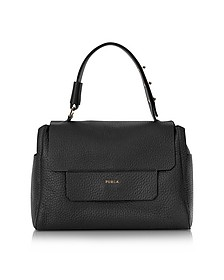 Onyx Black Leather Capriccio Medium Top Handle Bag - Furla