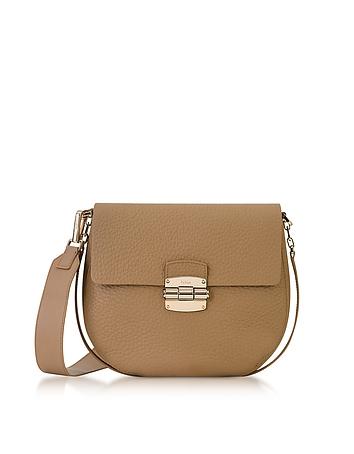 Furla - Club S Cappuccino Pebble Leather Crossbody Bag