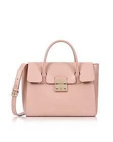 Moonstone Grained Leather Metropolis Medium Satchel  - Furla