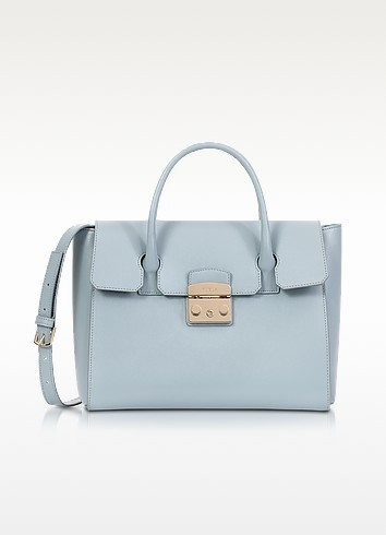 Sky Blue Grained Leather Metropolis Medium Satchel  - Furla