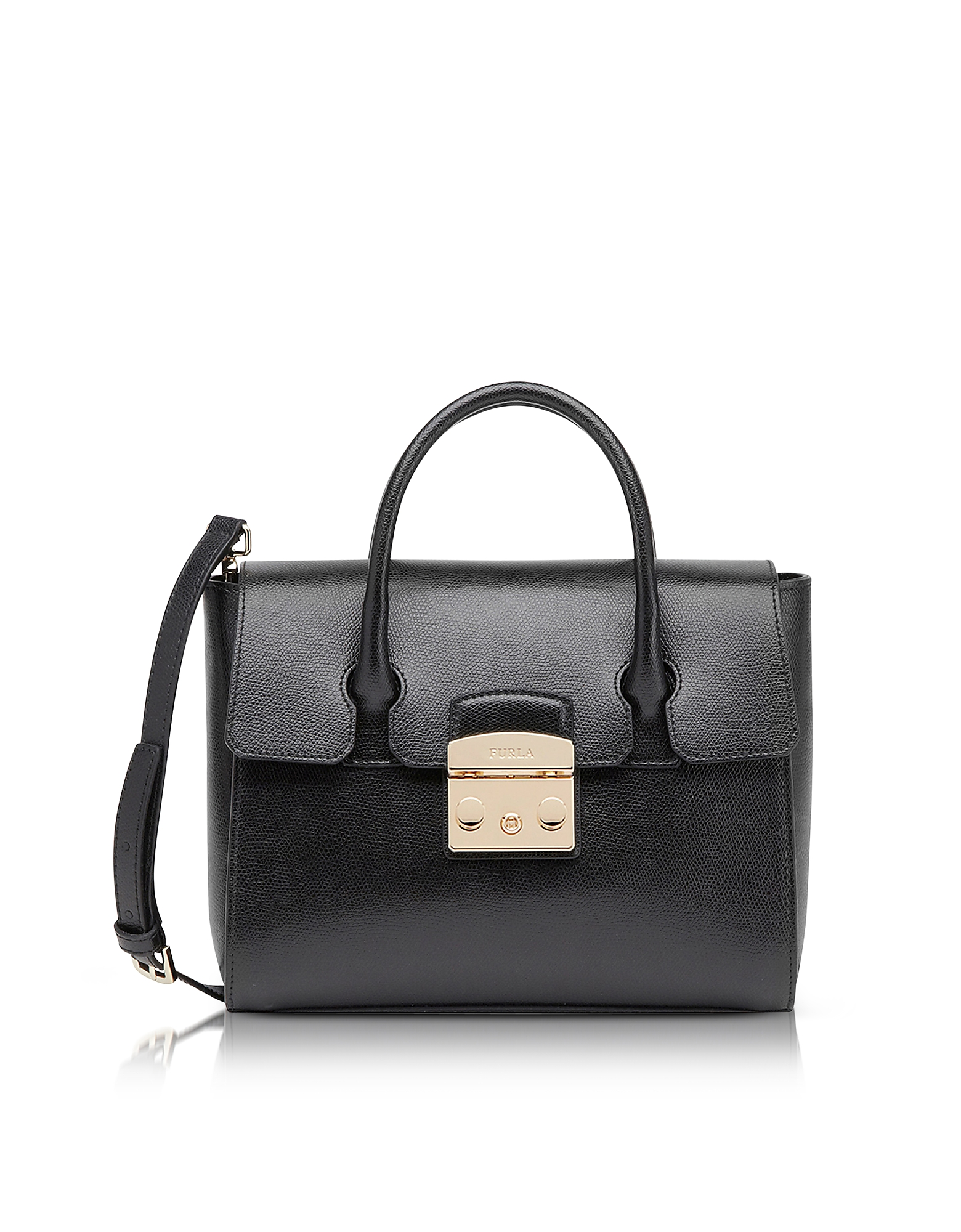 Furla Handbags, Onyx Grained Leather Metropolis Small Satchel