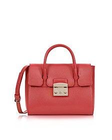 Ruby Red  Grained Leather Metropolis Small Satchel  - Furla