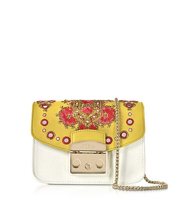 Furla - Petalo Metropolis Mini Crossbody Bag w/Detachable Senape Embroidery Flap