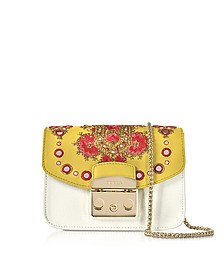 Petalo Metropolis Mini Crossbody Bag w/Detachable Senape Embroidery Flap - Furla