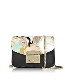 Black Metropolis Mini Crossbody Bag w/Detachable Magnolia Embroidery Flap - Furla
