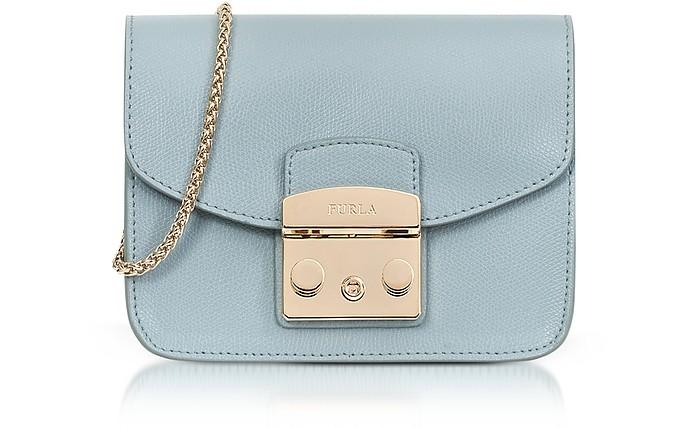 Sky Blue Leather Metropolis Mini Crossbody Bag - Furla