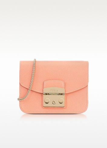 Peach Leather Metropolis Mini Crossbody Bag - Furla