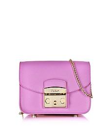 Lilac Leather Metropolis Mini Crossbody Bag  - Furla