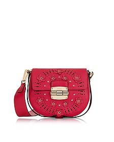 Ruby Red Leather Club Mini Crossbody Bag w/Daisy  - Furla