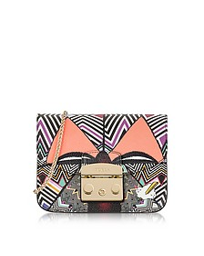 Metropolis Mask Mini Optical Printed Leather Crossbody Bag - Furla