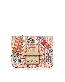 Powder Pink Metropolis Mask Mini Leather Crossbody Bag - Furla