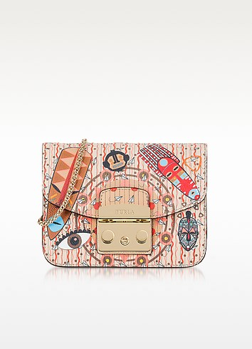 Powder Pink Metropolis Mask Mini Leather Crossbody Bag - Furla