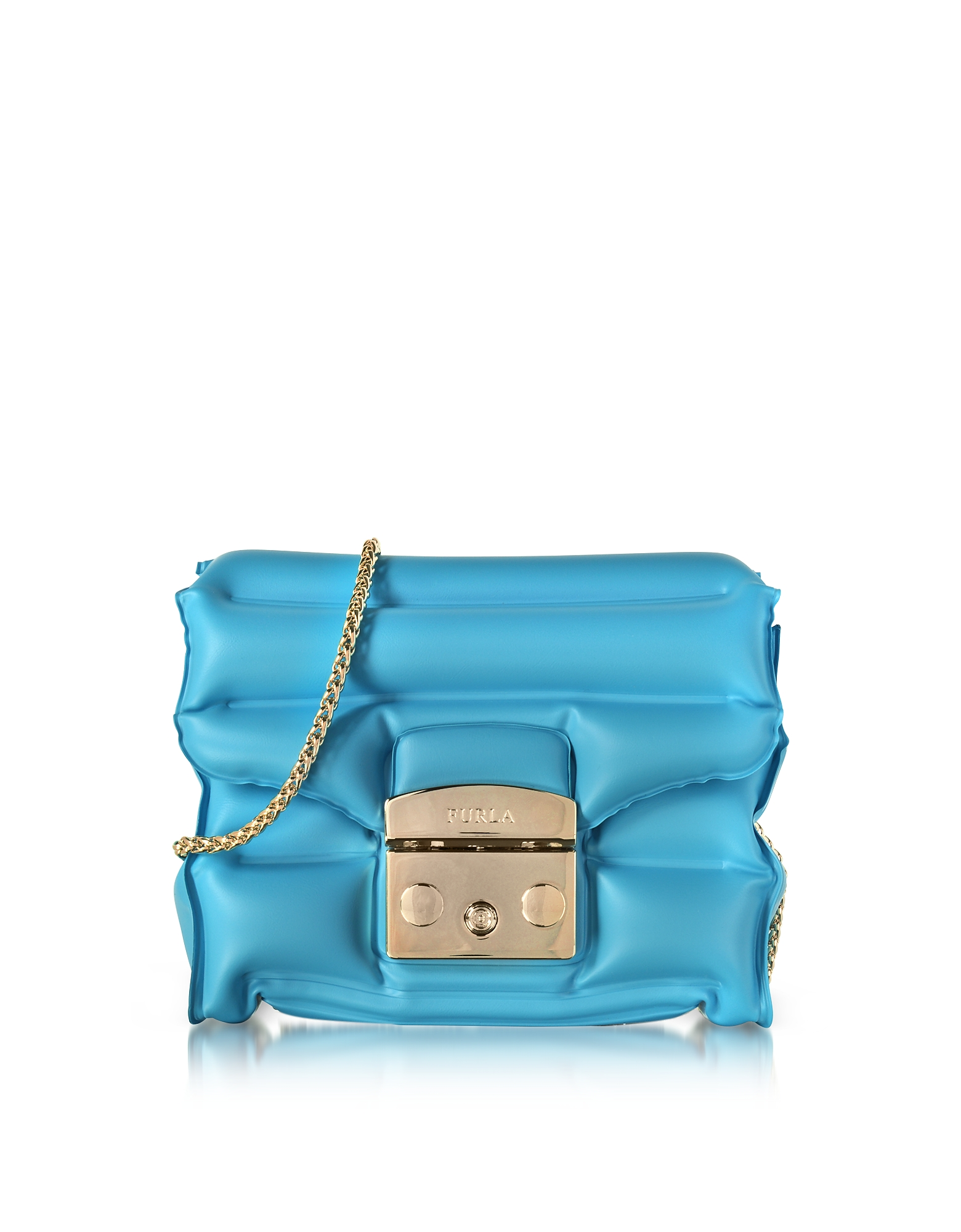 Furla Handbags, Turquoise Rubber Metropolis Oxygen Mini Crossbody Bag