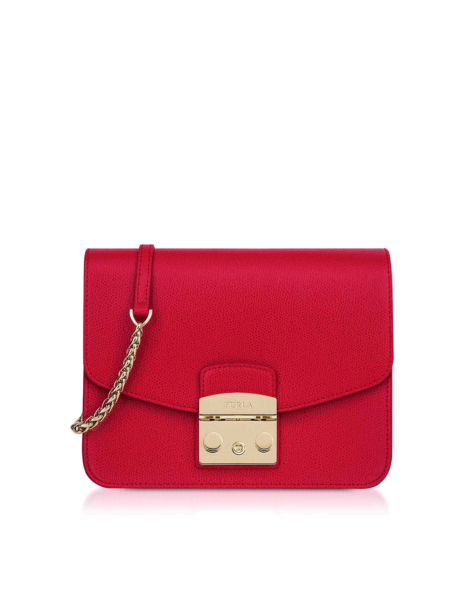 Furla Handbags, Ruby Red Leather Metropolis Small Crossbody