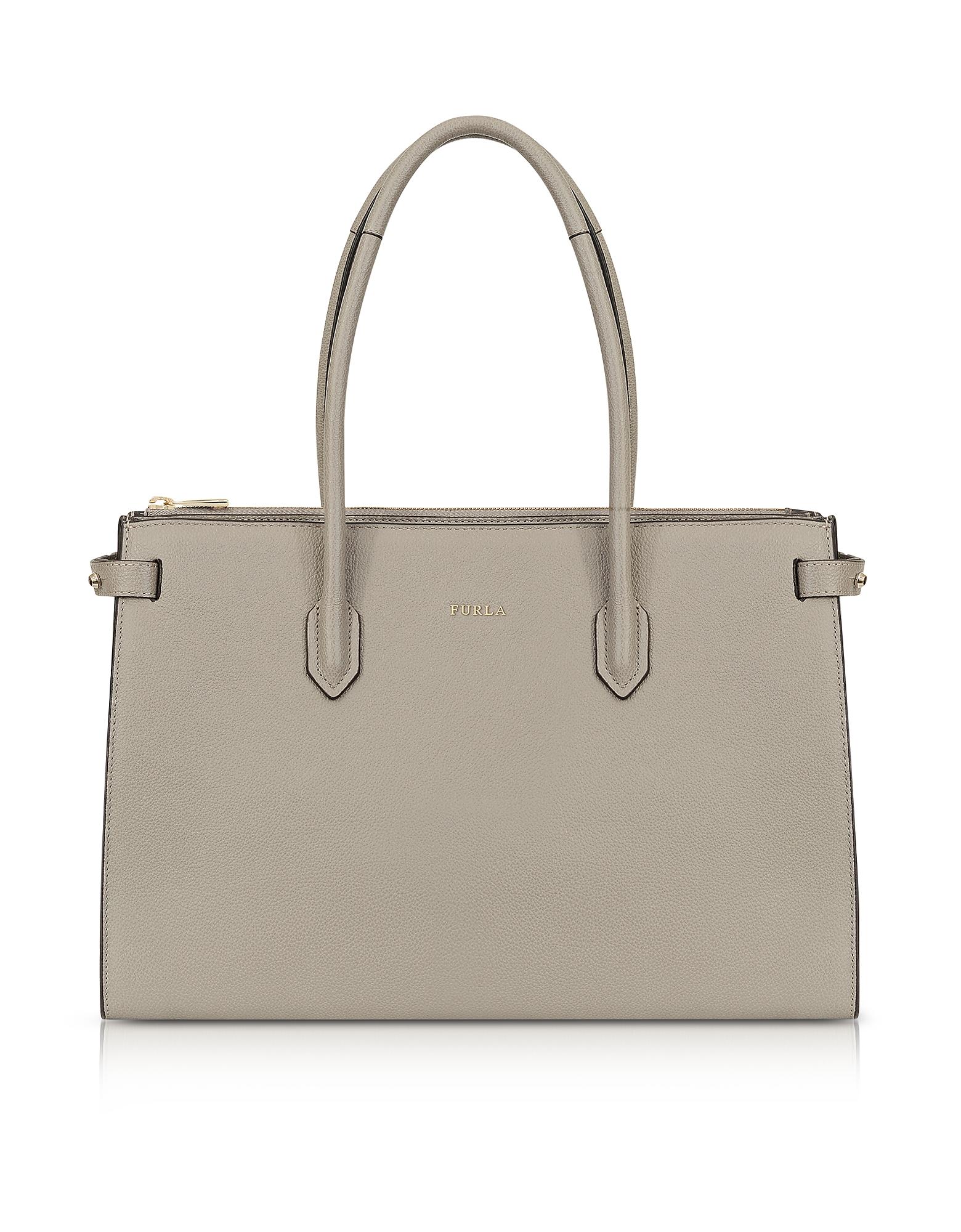 Furla Handbags, Sand Leather E/W Pin Medium Tote Bag
