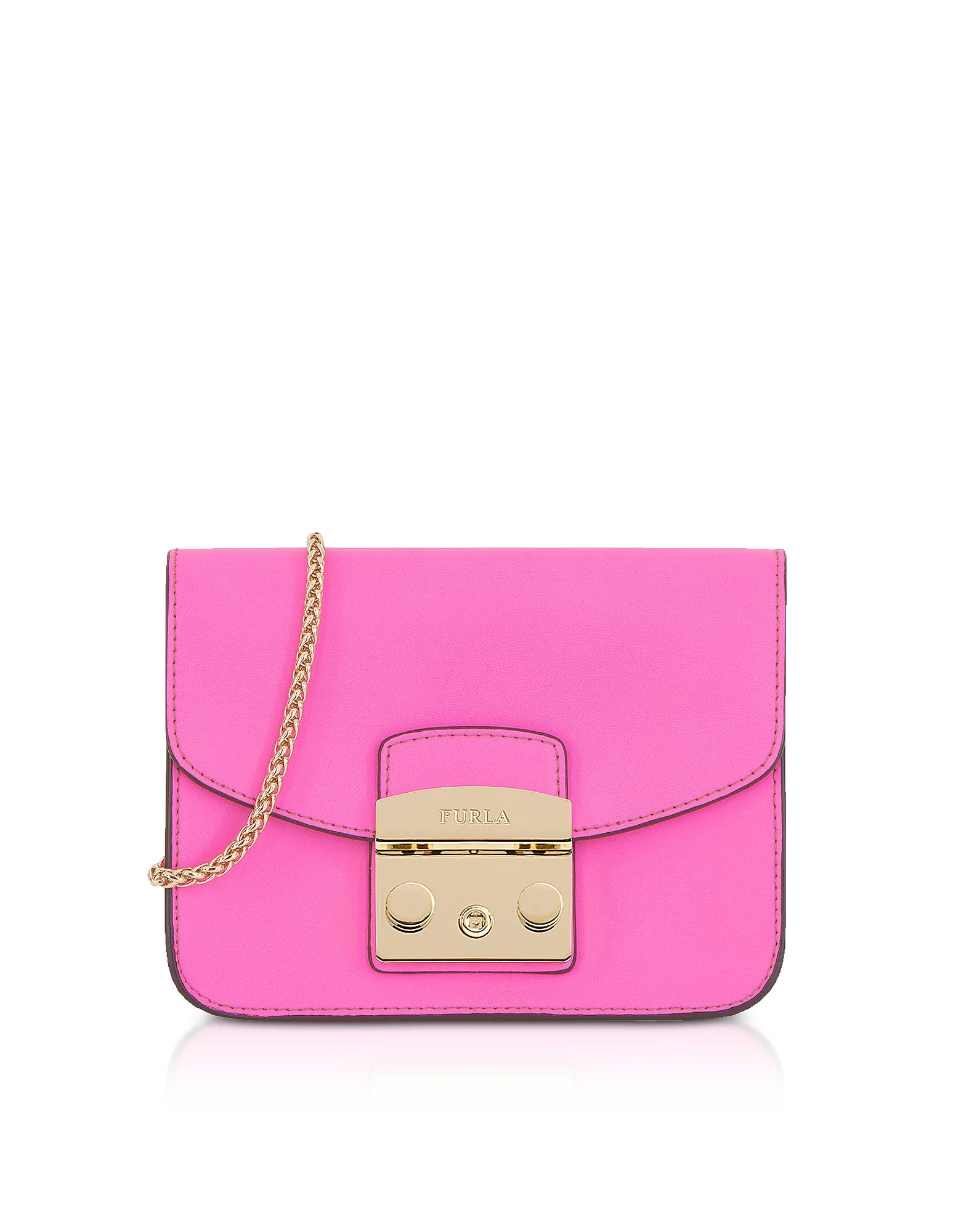 Furla Handbags, Fuchsia Leather Metropolis Mini Crossbody Bag