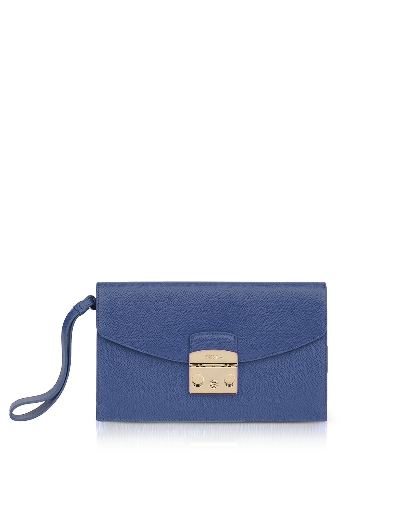 Image of Furla Designer Handbags, Peacock Blue Leather Metropolis Envelope Clutch