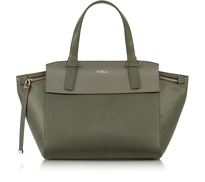 Dolce Vita Sage Green Leather Tote - Furla